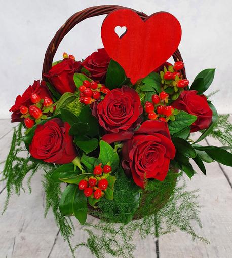 Średni kosz kwiatowy czerwony (1)