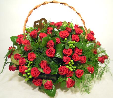 Bardzo duży kosz kwiatowy - róża (1)
