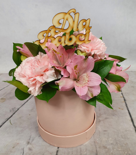 Średni Flower BOX różowy - DZIEŃ BABCI (1)