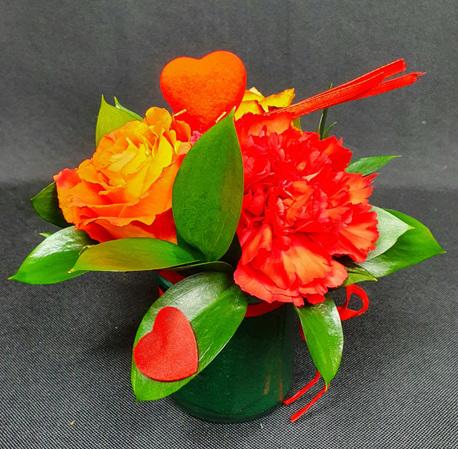 Mały Flower BOX zielony z goździkiem (1)