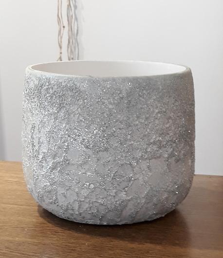 Donica / osłonka lawa biała wysoka ø18cm, wys.15cm (1)