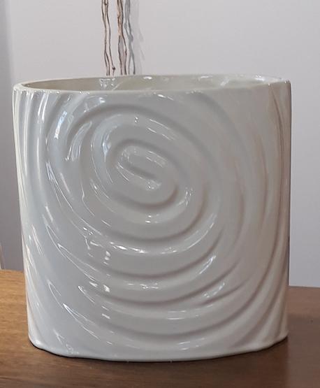 Donica / osłonka biała owalna z wzorem spiralnym duża 26x16cm, wys.25cm (1)