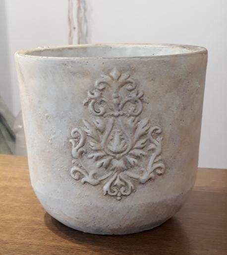 Donica / osłonka biała kamionkowa z herbem ø16, wys.16cm (1)