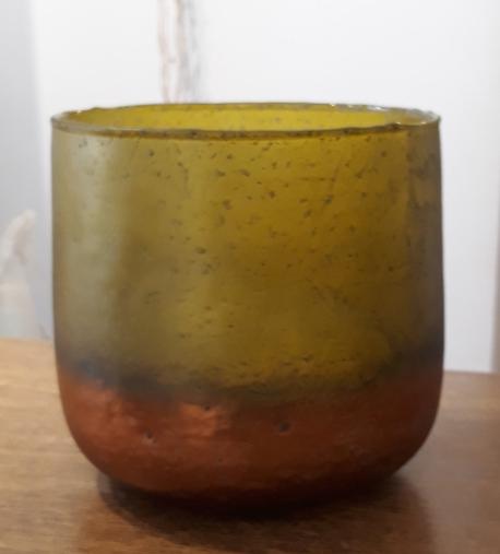 Donica / osłonka szklana zielono złota duża ø16cm, wys.16cm (1)