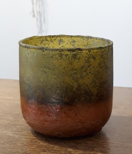 Donica / osłonka szklana zielono złota mała ø9cm, wys.9cm (1)