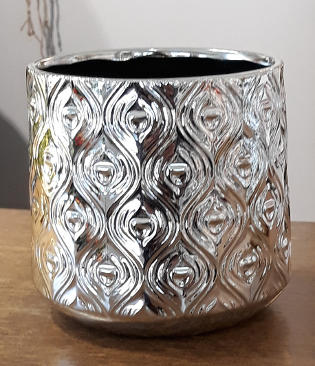 Donica / osłonka ceramiczna srebrna duża ø16cm, wys.17cm (1)