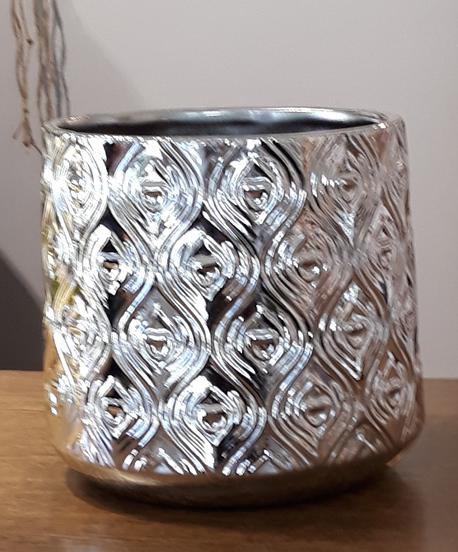 Donica / osłonka ceramiczna srebrna średnia ø13cm, wys.11cm (1)