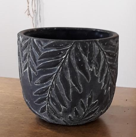 Donica / osłonka kamionka czarna liście duża ø17cm, wys.16cm (1)