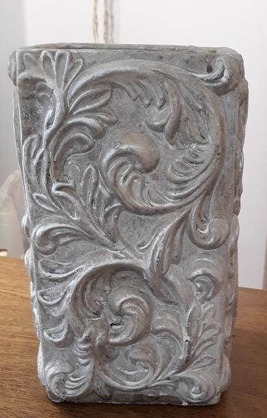 Donica / osłonka kamionka biała słupek 14x14cm, wys.25cm (1)