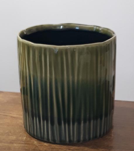 Donica / osłonka zielona ø13cm, wys.14cm (1)