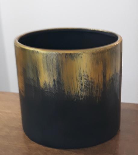 Donica / osłonka czarno-złota ø17cm, wys.16cm (1)