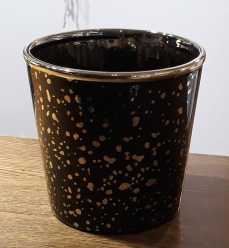 Osłonka / donica czarna ze złoceniami duża ø15cm, wys.14cm (1)