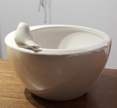 Osłonka / donica z ptaszkiem duża  ø18cm, wys.11cm (1)