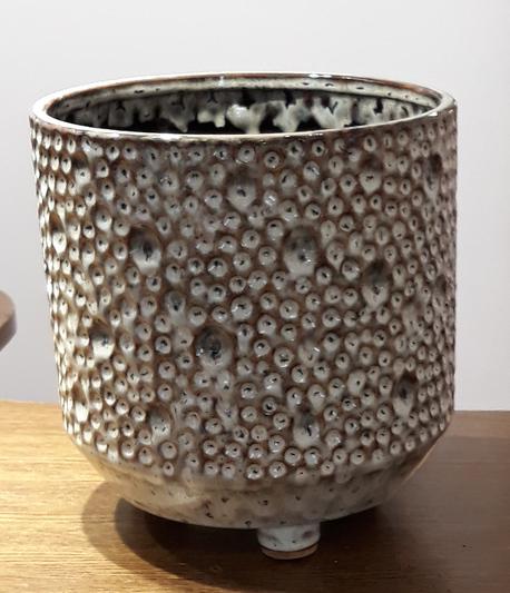 Osłonka / donica w kropki duża  ø21cm, wys.21cm (1)