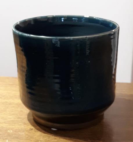 Osłonka / donica niebieska średnia  ø15cm, wys.14cm (1)