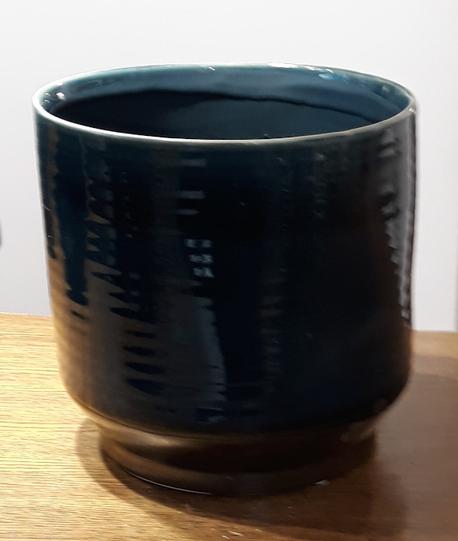 Osłonka / donica niebieska duża  ø19cm, wys.18cm (1)