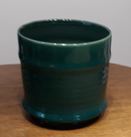 Osłonka / donica zielona mała  ø14cm, wys.14cm (1)