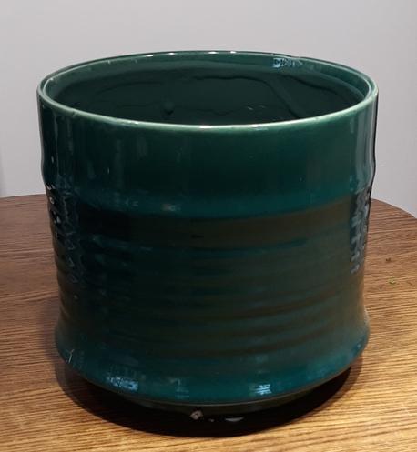 Osłonka / donica zielona duża  ø17cm, wys.17cm (1)