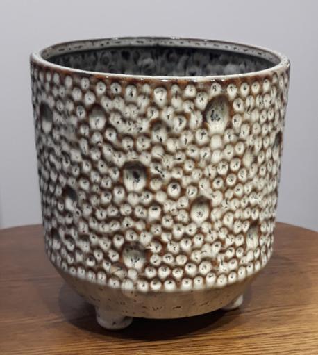 Osłonka / donica w kropki srednia  ø18cm, wys.19cm (1)