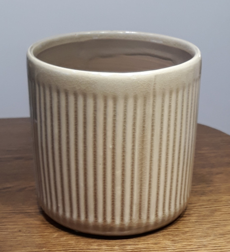 Osłonka / donica w paski pionowe brąz mała  ø13cm, wys.13cm (1)