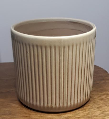 Osłonka / donica w paski pionowe brąz duża  ø16cm, wys.15cm (1)