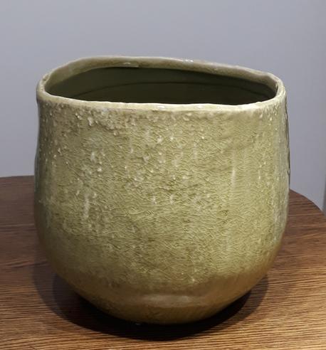Osłonka / donica zielona duża  ø18cm, wys.16cm (1)