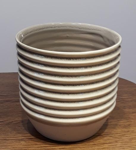 Osłonka / donica w paski poziome brąz  ø14cm, wys.13cm (1)