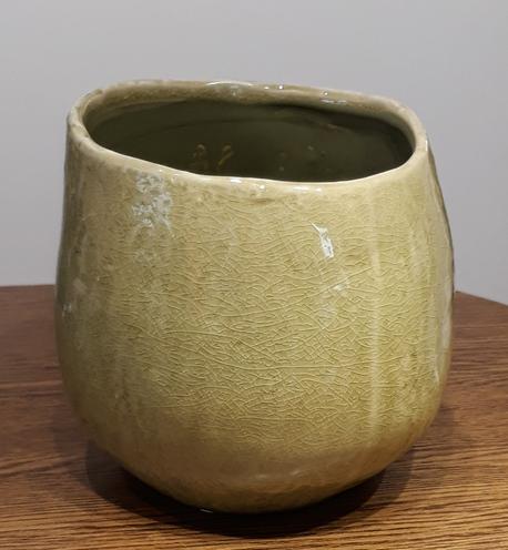 Osłonka / donica zielona mała  ø15cm, wys.14cm (1)