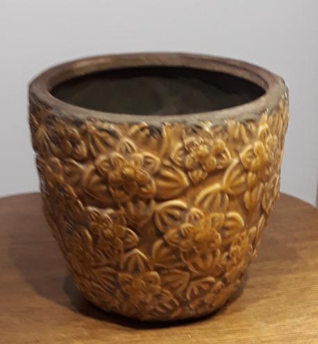 Osłonka / donica antyczna brązowa duża  ø20cm, wys.17cm (1)