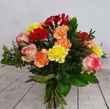 Średni bukiet wielobarwny - 3 rodzaje kwiatów (róża, gerbera, goździk) (1)