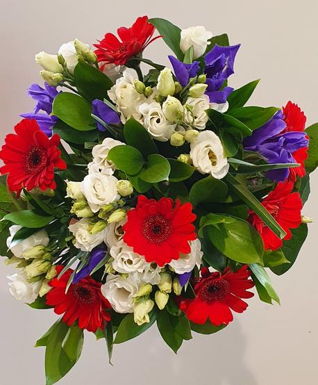 Duży bukiet 3 rodzaje kwiatów (eustoma, irys, gerbera) (1)