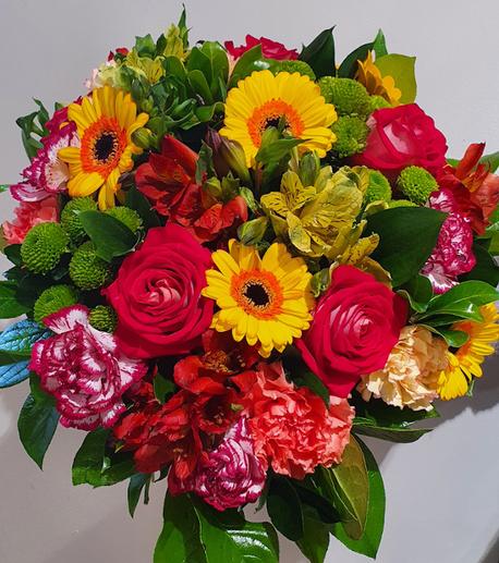 Duży bukiet wielobarwny - 3 rodzaje kwiatów (róża, gerbera, goździk) (1)